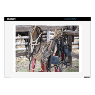 "Worn leather horse bridles and bits skin for 15"" laptop"