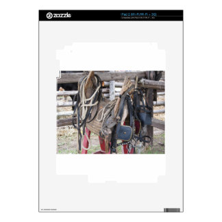 Worn leather horse bridles and bits skins for the iPad 2
