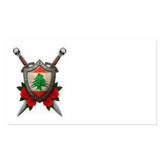 Worn Lebanese Flag Shield and Swords with Roses Business Card Templates