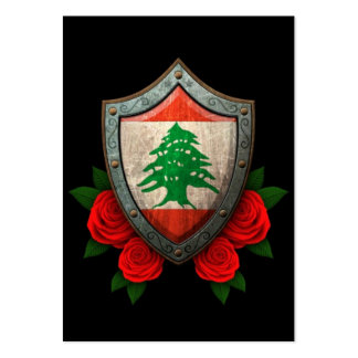 Worn Lebanese Flag Shield with Red Roses Large Business Card