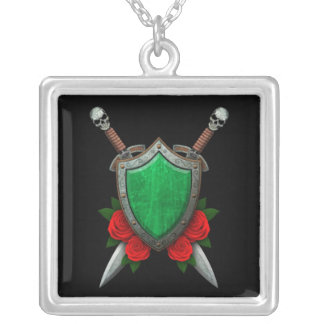 Worn Libyan Flag Shield and Swords with Roses Necklace