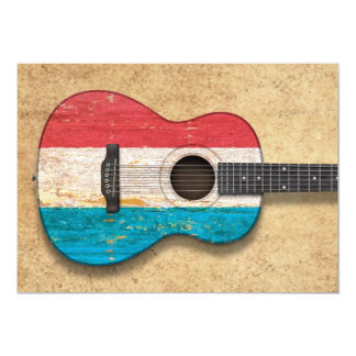 Worn Luxembourg Flag Acoustic Guitar Custom Announcement