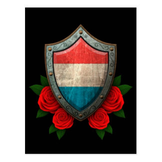 Worn Luxembourg Flag Shield with Red Roses Postcard