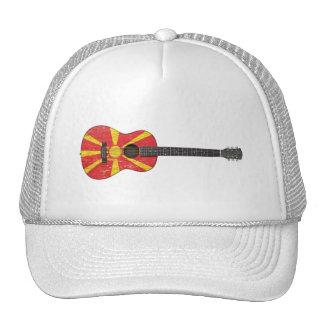 Worn Macedonian Flag Acoustic Guitar Trucker Hat