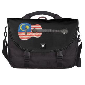 Worn Malaysian Flag Acoustic Guitar, black Computer Bag