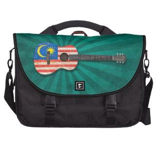 Worn Malaysian Flag Acoustic Guitar, teal Computer Bag