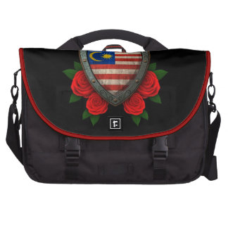 Worn Malaysian Flag Shield with Red Roses Laptop Bags
