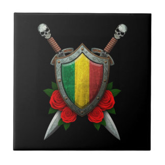Worn Mali Flag Shield and Swords with Roses Ceramic Tile