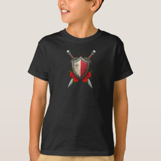 Worn Maltese Flag Shield and Swords with Roses T-Shirt