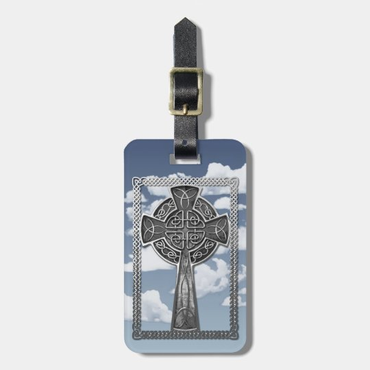 Worn Metal Cross Bag Tag