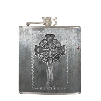 Worn Metal Cross Flask