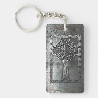 Worn Metal Cross Double-Sided Rectangular Acrylic Keychain
