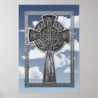 Worn Metal Cross Print