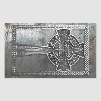 Worn Metal Cross Rectangular Sticker