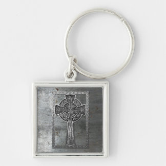 Worn Metal Cross Silver-Colored Square Keychain