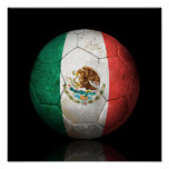 Worn Mexican Flag Football Soccer Ball Poster
