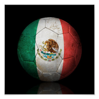 Worn Mexican Flag Football Soccer Ball Poster