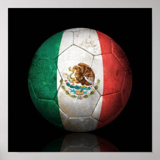 Worn Mexican Flag Football Soccer Ball Print
