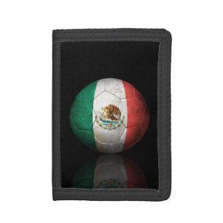 Worn Mexican Flag Football Soccer Ball Tri-fold Wallets