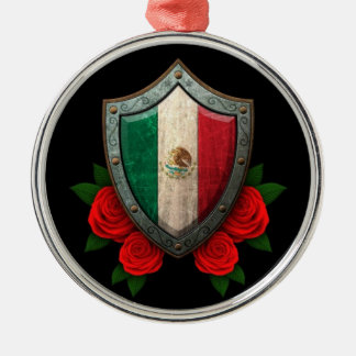 Worn Mexican Flag Shield with Red Roses Metal Ornament