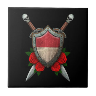 Worn Monaco Flag Shield and Swords with Roses Ceramic Tile