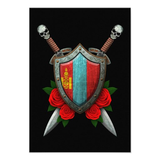 Worn Mongolian Flag Shield and Swords with Roses Announcement