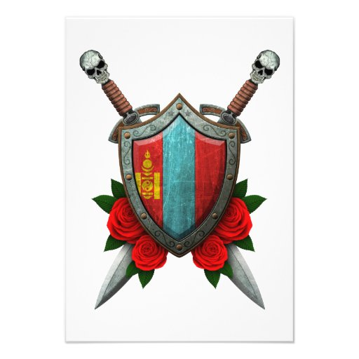 Worn Mongolian Flag Shield and Swords with Roses Custom Invite