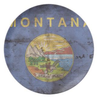 Worn Montana Flag; Melamine Plate