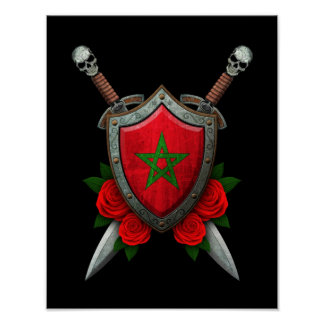 Worn Moroccan Flag Shield and Swords with Roses Posters