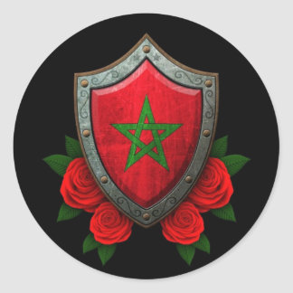 Worn Moroccan Flag Shield with Red Roses Classic Round Sticker