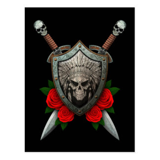Worn Native Skull Shield and Swords with Roses Postcard