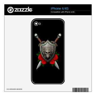 Worn Native Skull Shield and Swords with Roses Decal For The iPhone 4S