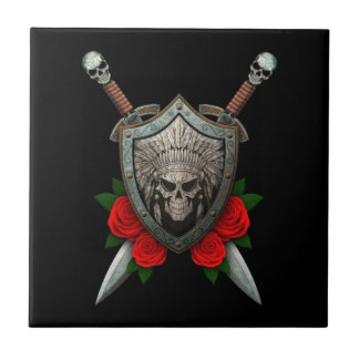 Worn Native Skull Shield and Swords with Roses Tiles