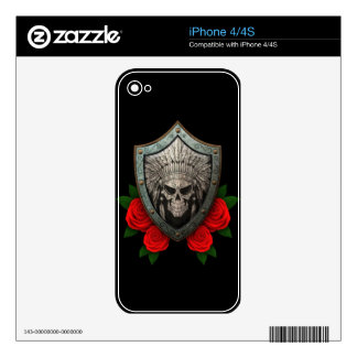 Worn Native Skull Shield with Red Roses Decal For The iPhone 4