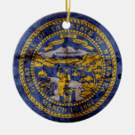 Worn Nebraska Flag; Double-Sided Ceramic Round Christmas Ornament