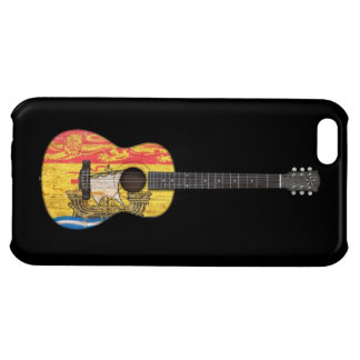 Worn New Brunswick Flag Acoustic Guitar, black iPhone 5C Covers