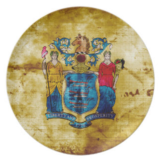 Worn New Jersey Flag; Plate