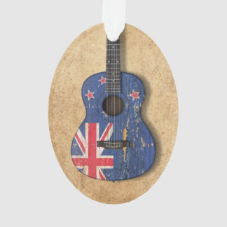 Worn New Zealand Flag Acoustic Guitar Ornament