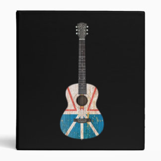 Worn Newfoundland Flag Acoustic Guitar black 3 Ring Binder