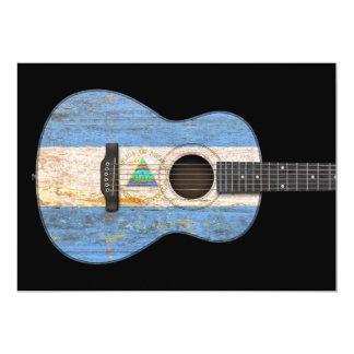 Worn Nicaraguan Flag Acoustic Guitar, black Card