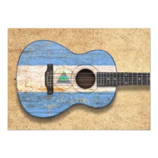 Worn Nicaraguan Flag Acoustic Guitar Card