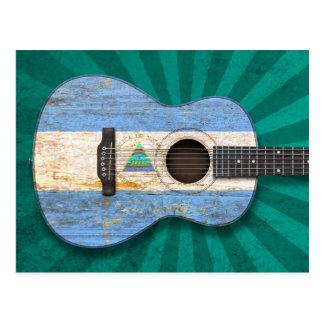 Worn Nicaraguan Flag Acoustic Guitar, teal Postcard