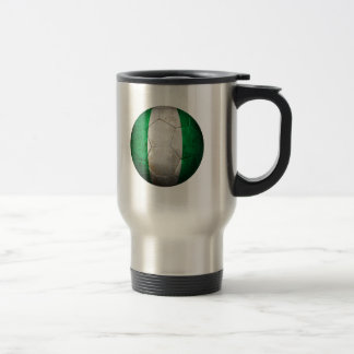 Worn Nigerian Flag Football Soccer Ball 15 Oz Stainless Steel Travel Mug