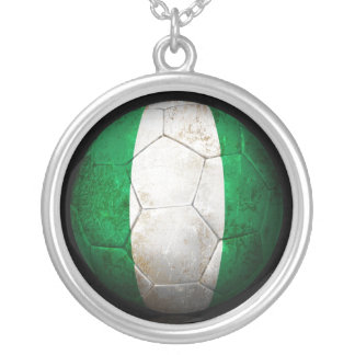 Worn Nigerian Flag Football Soccer Ball Silver Plated Necklace