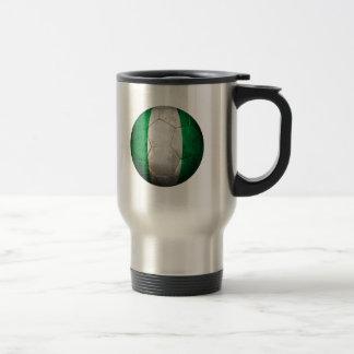 Worn Nigerian Flag Football Soccer Ball Travel Mug