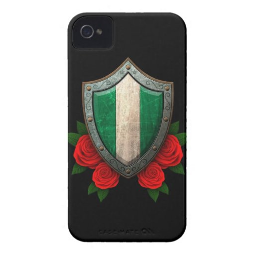 Worn Nigerian Flag Shield with Red Roses iPhone 4 Case-Mate Case