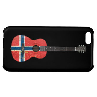 Worn Norwegian Flag Acoustic Guitar, black Cover For iPhone 5C