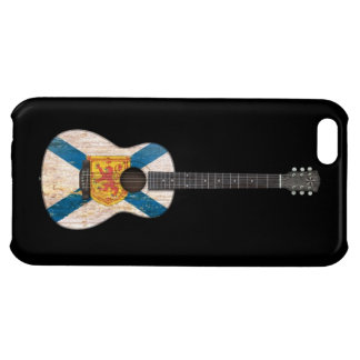 Worn Nova Scotia Flag Acoustic Guitar, black iPhone 5C Covers