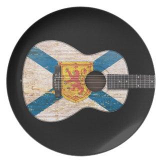 Worn Nova Scotia Flag Acoustic Guitar, black Plate