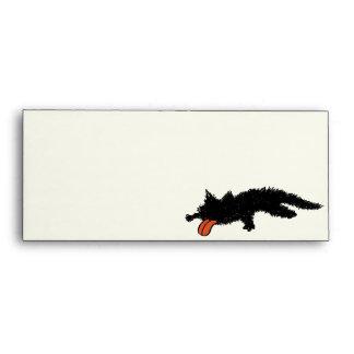 Worn out Black Kitten Ivory Yellowish Green Envelope